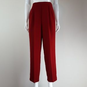 Vintage Red Pleated Trousers